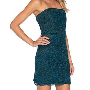Lovers + Friends Teal Lace Mini Dress